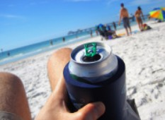 can cooler by the beach